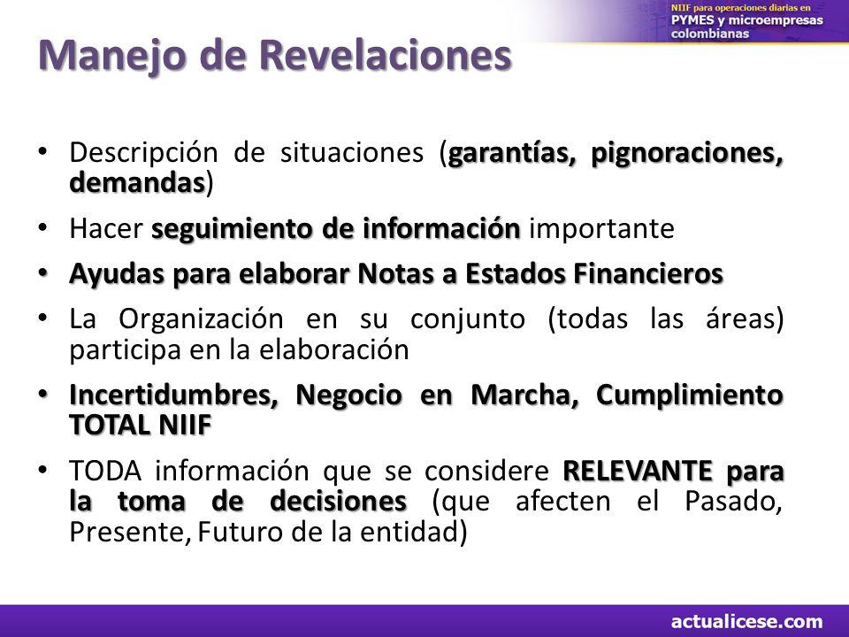 Manejo de Revelaciones garantías, pignoraciones, demandas Descripción de situaciones (garantías, pignoraciones, demandas) seguimiento de información H