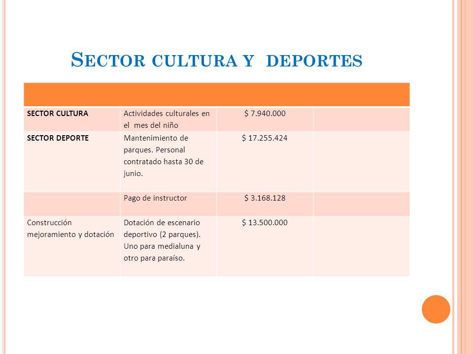 S ECTOR CULTURA Y DEPORTES SECTOR CULTURA Actividades culturales en el mes del niño $ 7.940.000 SECTOR DEPORTE Mantenimiento de parques.