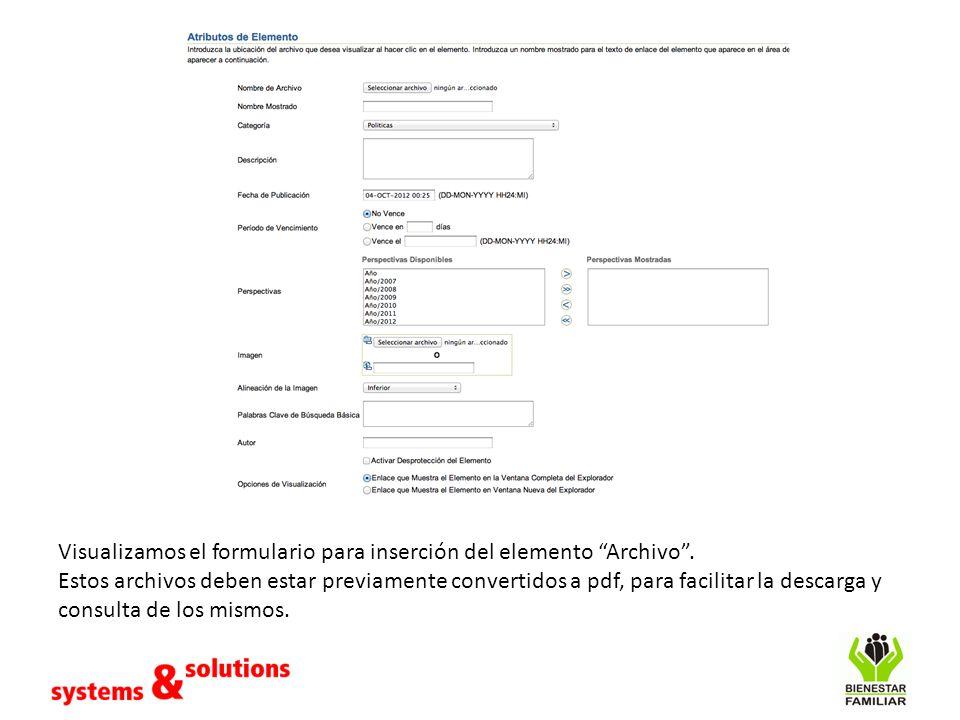 Visualizamos el formulario para inserción del elemento Archivo. Estos archivos deben estar previamente convertidos a pdf, para facilitar la descarga y
