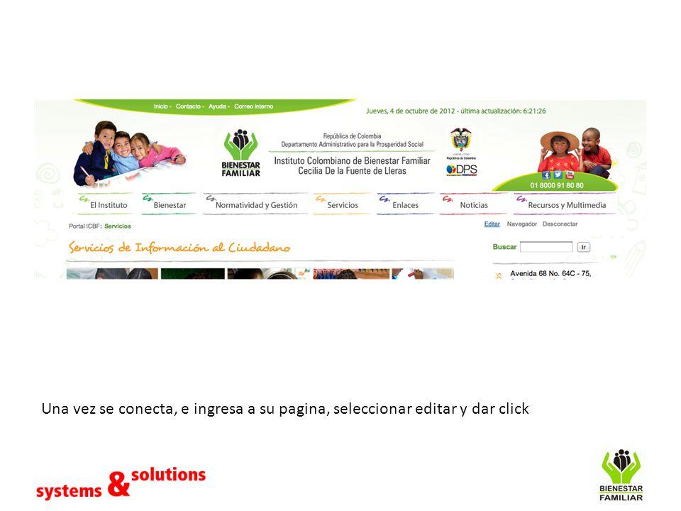 Una vez se conecta, e ingresa a su pagina, seleccionar editar y dar click