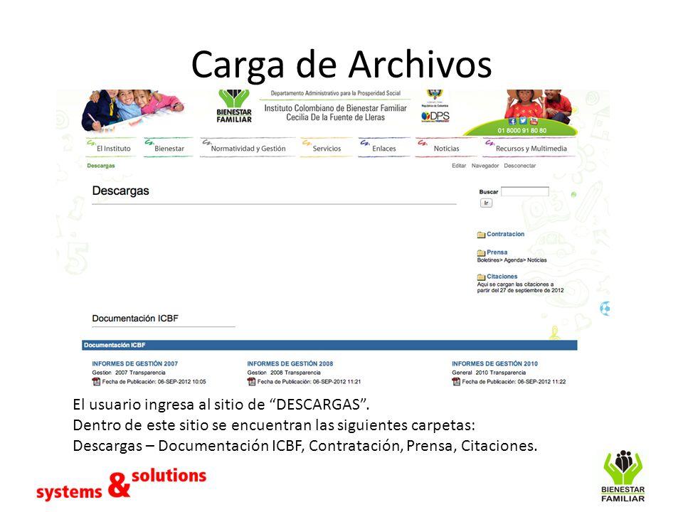 Carga de Archivos El usuario ingresa al sitio de DESCARGAS. Dentro de este sitio se encuentran las siguientes carpetas: Descargas – Documentación ICBF