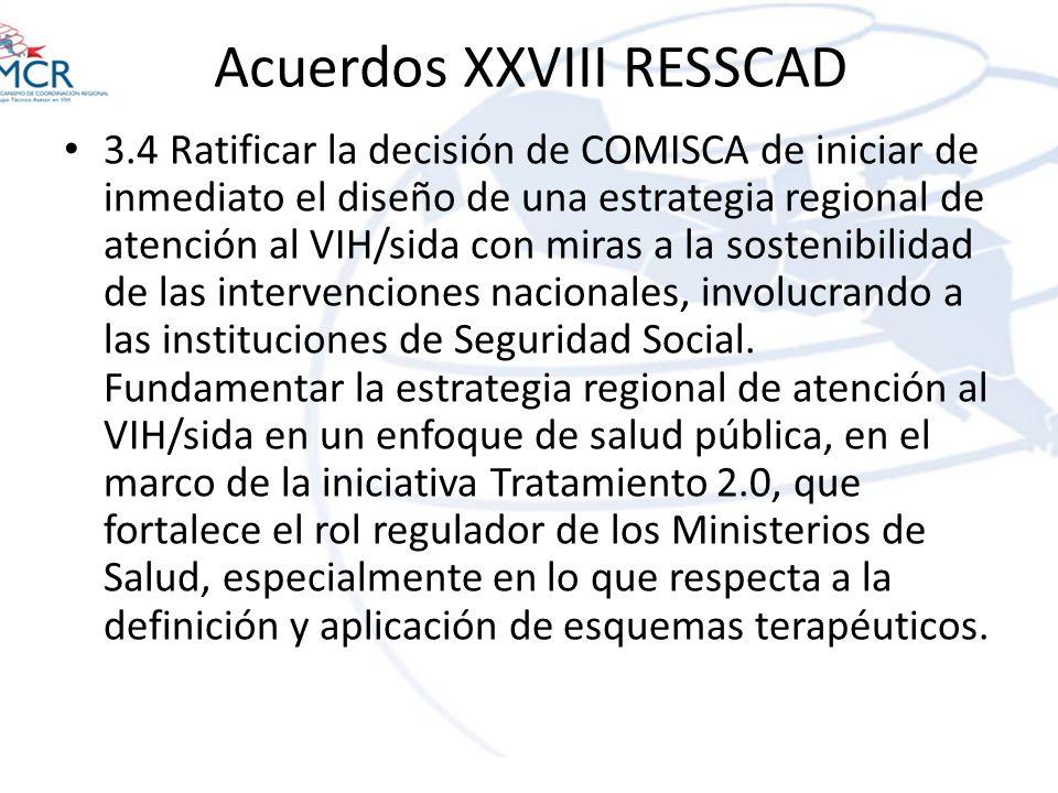 Acuerdos XXVIII RESSCAD 3.4 Ratificar la decisión de COMISCA de iniciar de inmediato el diseño de una estrategia regional de atención al VIH/sida con