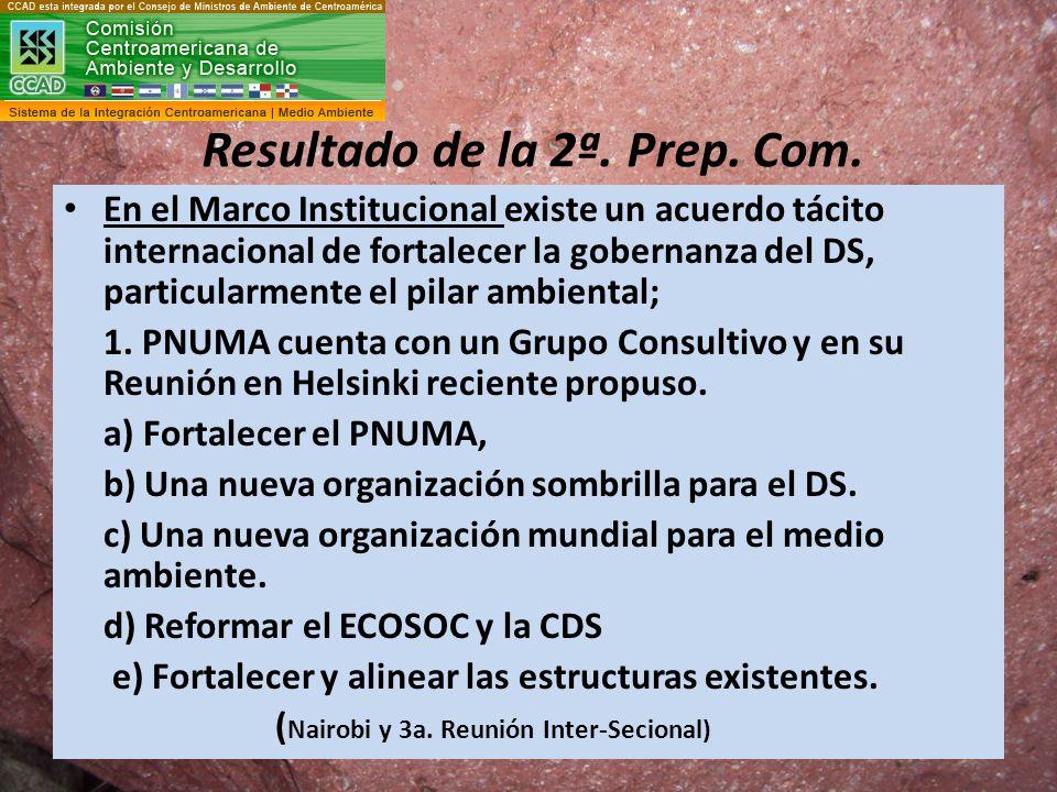 Resultado de la 2ª. Prep. Com. En el Marco Institucional existe un acuerdo tácito internacional de fortalecer la gobernanza del DS, particularmente el