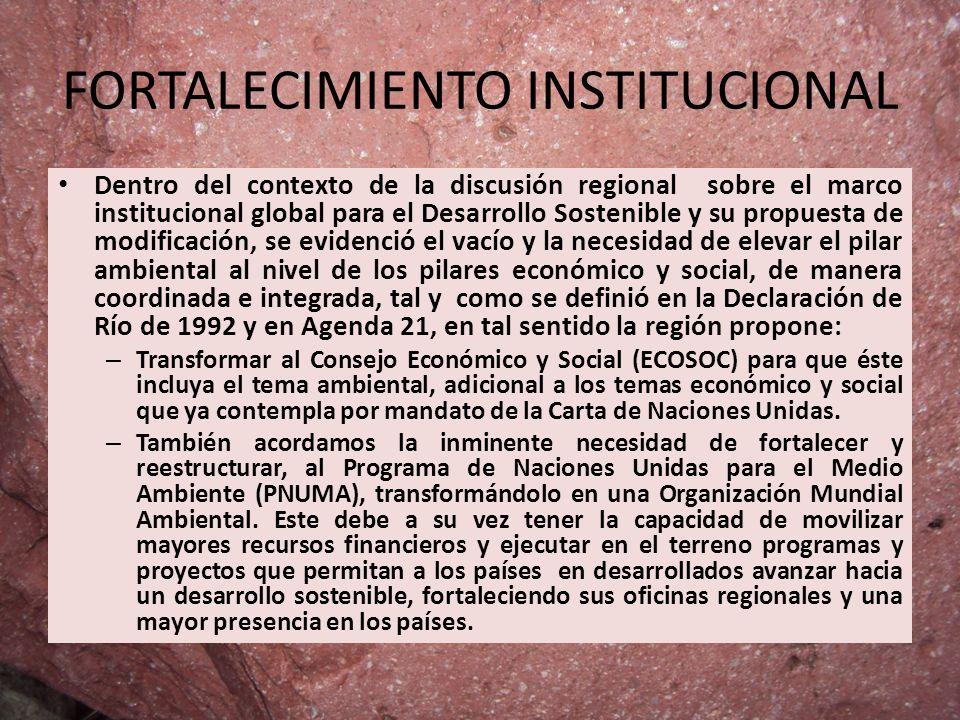 FORTALECIMIENTO INSTITUCIONAL Dentro del contexto de la discusión regional sobre el marco institucional global para el Desarrollo Sostenible y su prop