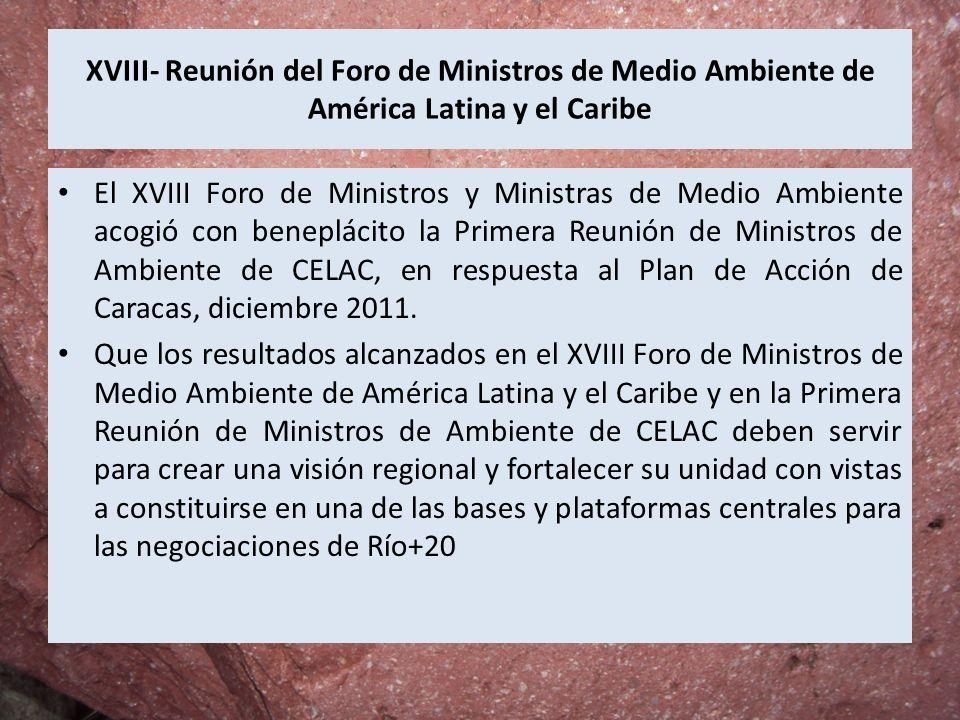 XVIII- Reunión del Foro de Ministros de Medio Ambiente de América Latina y el Caribe El XVIII Foro de Ministros y Ministras de Medio Ambiente acogió c