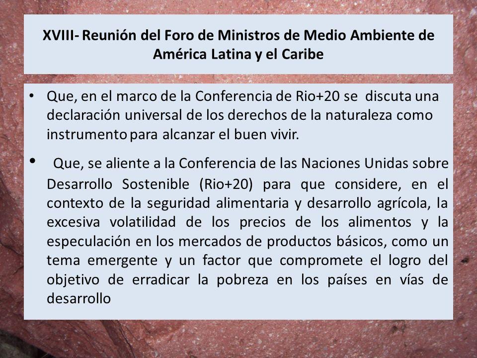 XVIII- Reunión del Foro de Ministros de Medio Ambiente de América Latina y el Caribe Que, en el marco de la Conferencia de Rio+20 se discuta una decla