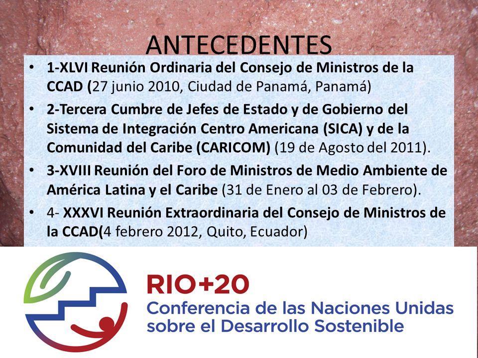 ANTECEDENTES 1-XLVI Reunión Ordinaria del Consejo de Ministros de la CCAD (27 junio 2010, Ciudad de Panamá, Panamá) 2-Tercera Cumbre de Jefes de Estad