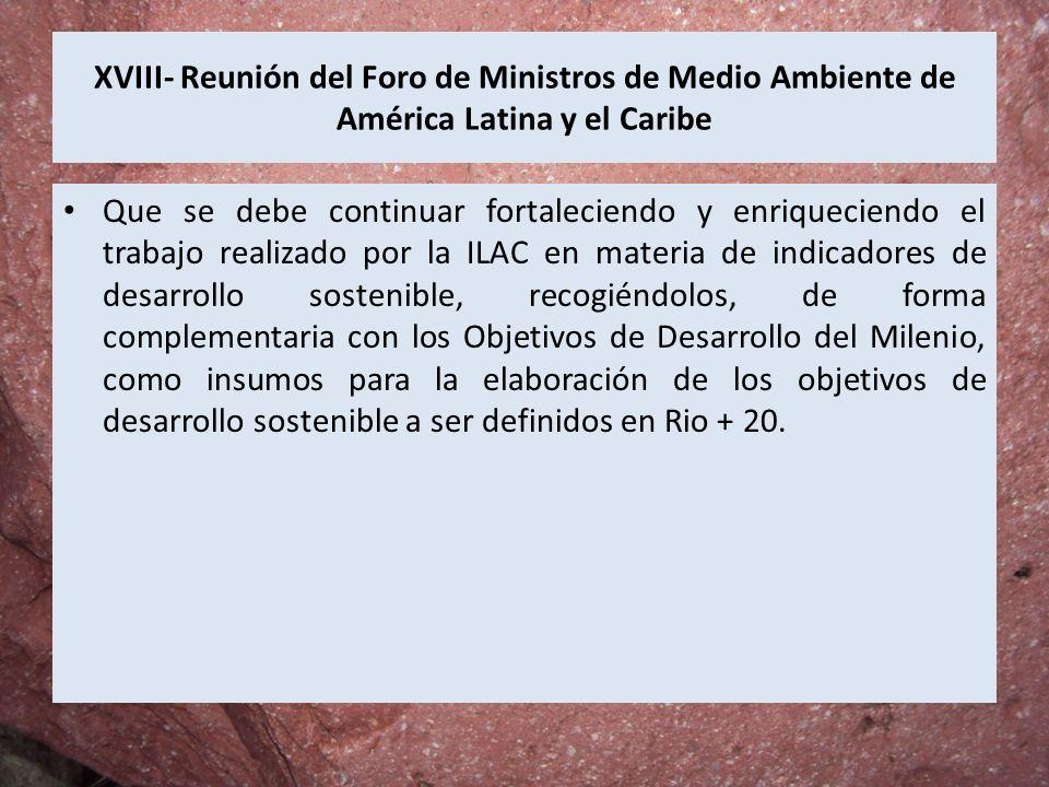 XVIII- Reunión del Foro de Ministros de Medio Ambiente de América Latina y el Caribe Que se debe continuar fortaleciendo y enriqueciendo el trabajo re