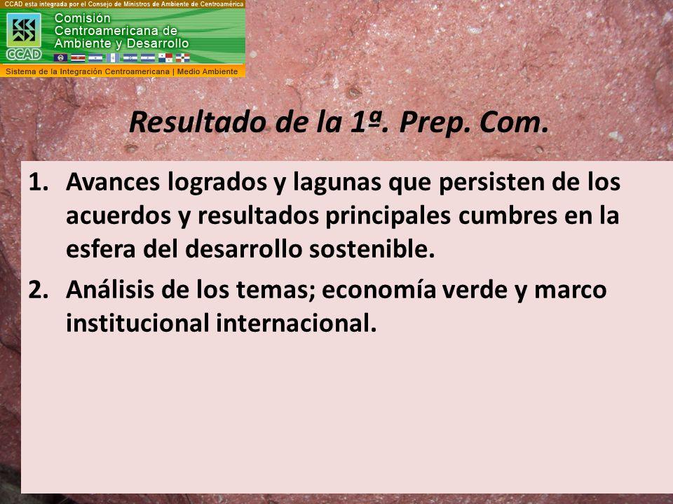 Resultado de la 1ª. Prep. Com. 1.Avances logrados y lagunas que persisten de los acuerdos y resultados principales cumbres en la esfera del desarrollo