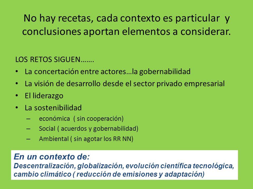 No hay recetas, cada contexto es particular y conclusiones aportan elementos a considerar.