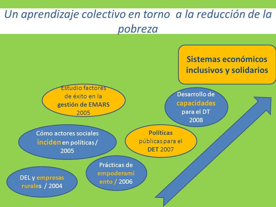 Un aprendizaje colectivo en torno a la reducción de la pobreza DEL y empresas rurales / 2004 Políticas públicas para el DET 2007 Cómo actores sociales inciden en políticas / 2005 Desarrollo de capacidades para el DT 2008 Prácticas de empoderami ento / 2006 Sistemas económicos inclusivos y solidarios Estudio factores de éxito en la gestión de EMARS 2005