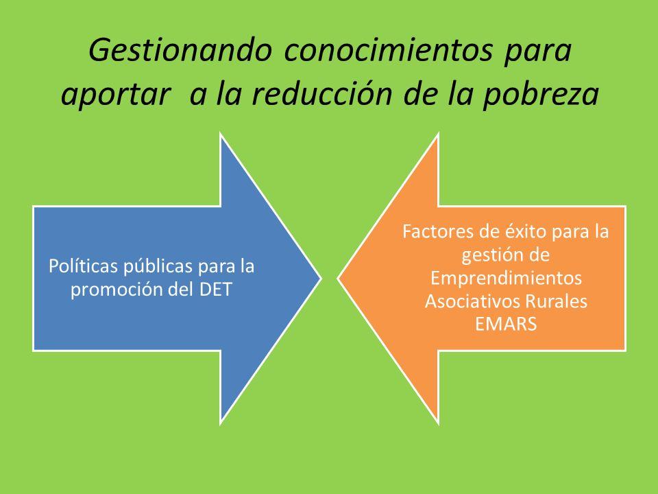 Gestionando conocimientos para aportar a la reducción de la pobreza Políticas públicas para la promoción del DET Factores de éxito para la gestión de
