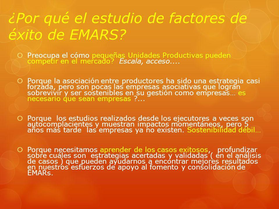 ¿Por qué el estudio de factores de éxito de EMARS? Preocupa el cómo pequeñas Unidades Productivas pueden competir en el mercado? Escala, acceso.... Po