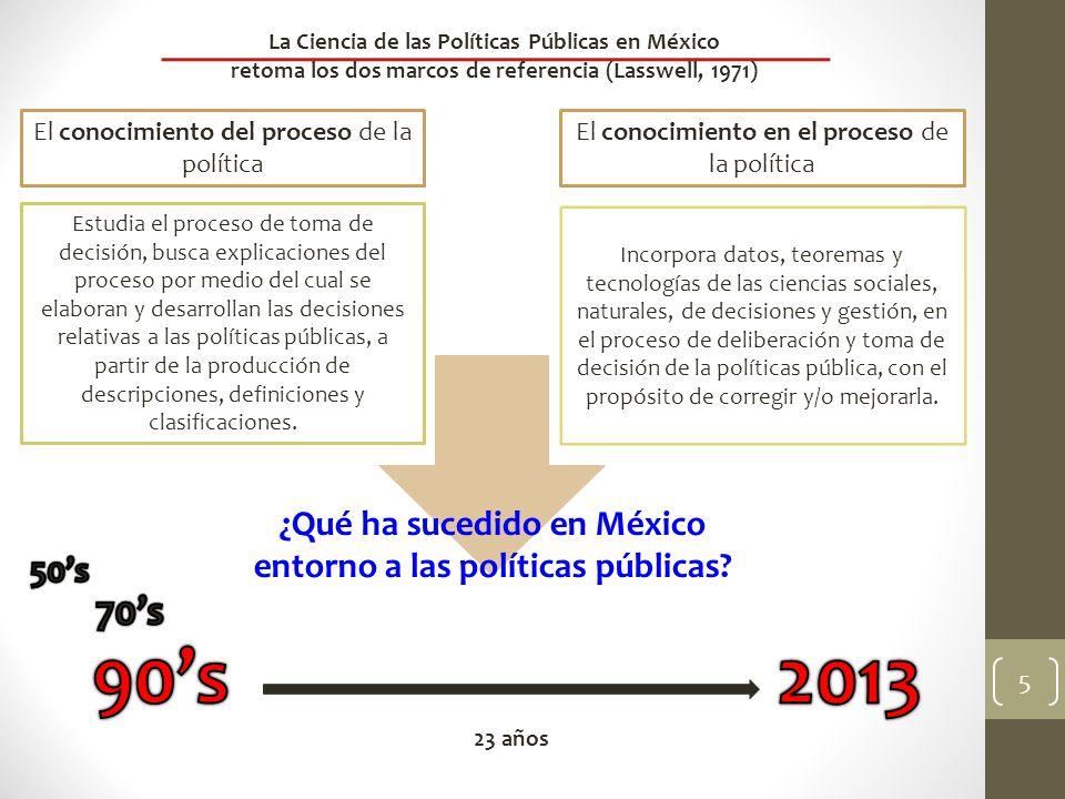 5 La Ciencia de las Políticas Públicas en México retoma los dos marcos de referencia (Lasswell, 1971) El conocimiento del proceso de la política El co