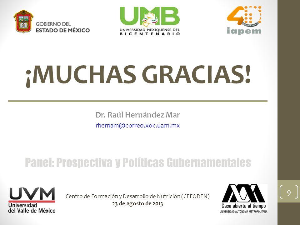 ¡MUCHAS GRACIAS! Dr. Raúl Hernández Mar rhernam@correo.xoc.uam.mx Panel: Prospectiva y Políticas Gubernamentales Centro de Formación y Desarrollo de N