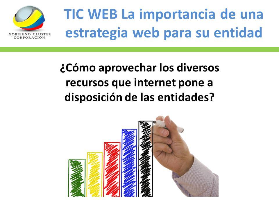 TIC WEB La importancia de una estrategia web para su entidad Propuesta del MercadoPropuesta de la Corporación $2800.000 a $3200.000 Mensualidades $200.000 +/- $562.000 Mensualidades $80.000 +/- En la unión de las corporaciones: Colombia sin Fronteras, CA3, Corpoagro y Gobierno Cluster; se financia el 80% del valor de la matricula y el 50% de la mensualidad.