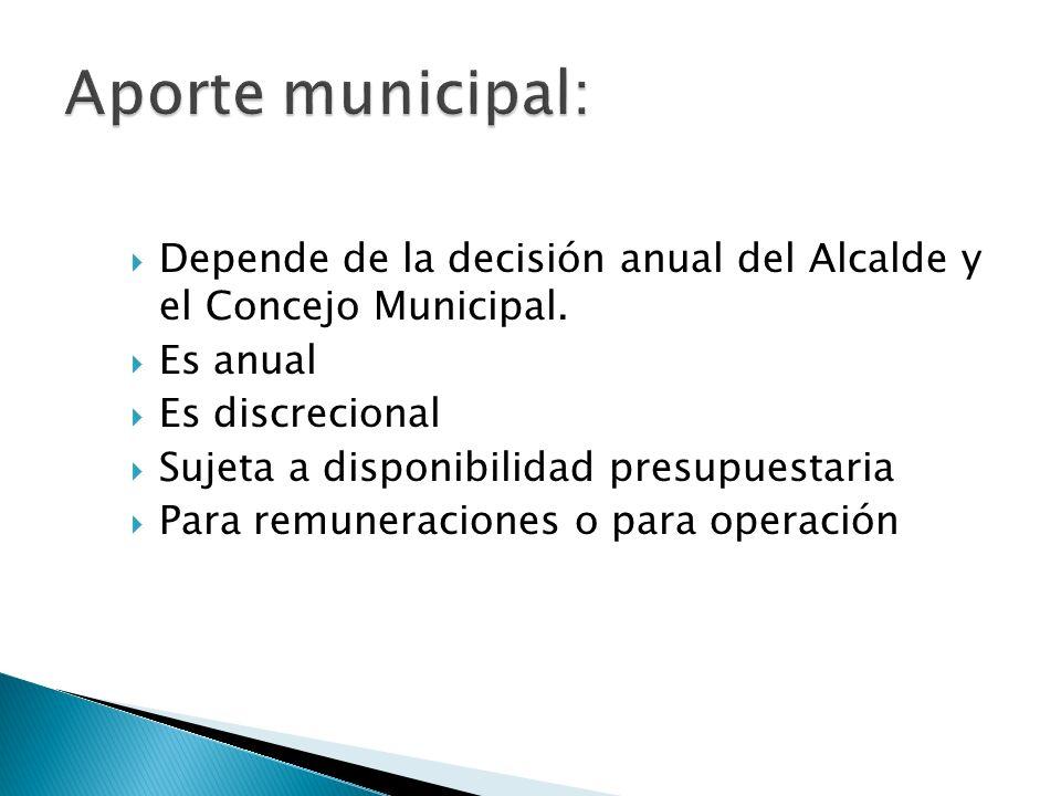 Depende de la decisión anual del Alcalde y el Concejo Municipal. Es anual Es discrecional Sujeta a disponibilidad presupuestaria Para remuneraciones o