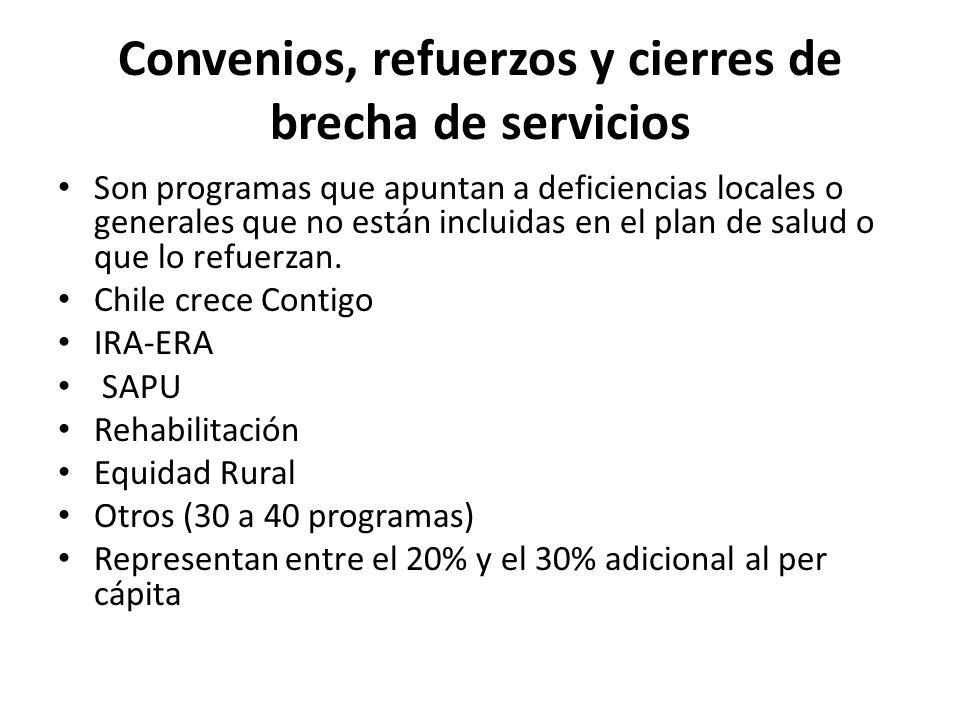Convenios, refuerzos y cierres de brecha de servicios Son programas que apuntan a deficiencias locales o generales que no están incluidas en el plan d