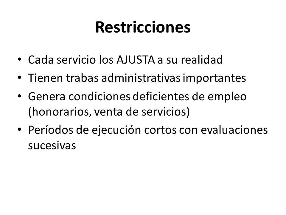 Restricciones Cada servicio los AJUSTA a su realidad Tienen trabas administrativas importantes Genera condiciones deficientes de empleo (honorarios, v