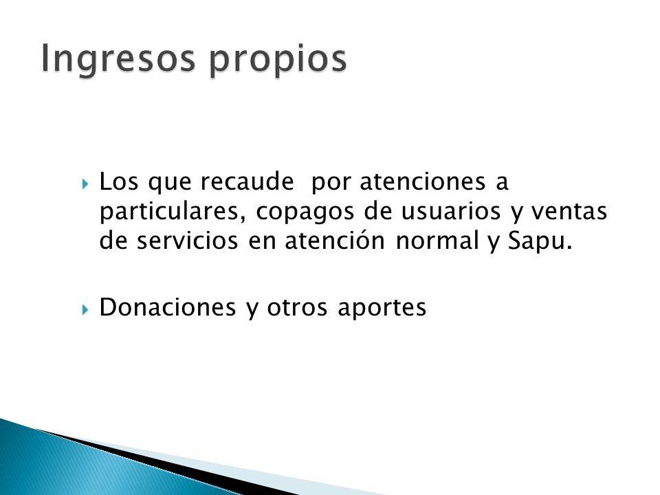 Los que recaude por atenciones a particulares, copagos de usuarios y ventas de servicios en atención normal y Sapu. Donaciones y otros aportes