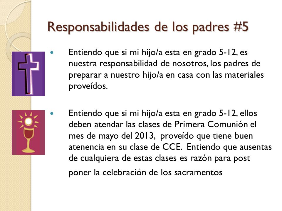 Responsabilidades de los padres #5 Entiendo que si mi hijo/a esta en grado 5-12, es nuestra responsabilidad de nosotros, los padres de preparar a nuestro hijo/a en casa con las materiales proveídos.