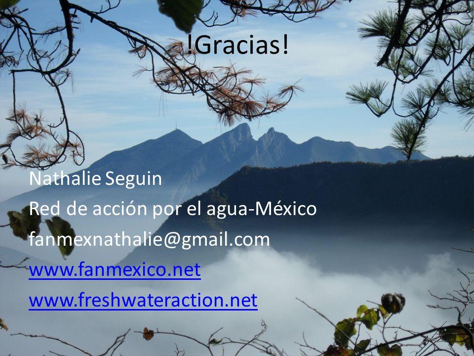 !Gracias! Nathalie Seguin Red de acción por el agua-México fanmexnathalie@gmail.com www.fanmexico.net www.freshwateraction.net