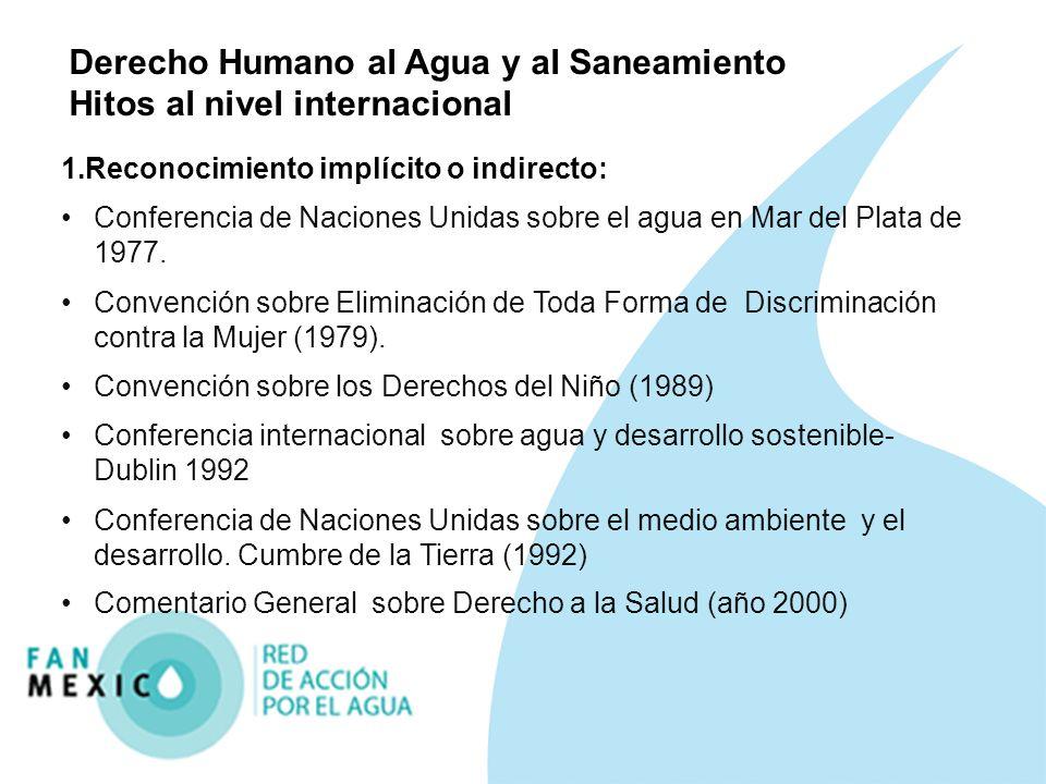 Derecho Humano al Agua y al Saneamiento Hitos al nivel internacional 1.Reconocimiento implícito o indirecto: Conferencia de Naciones Unidas sobre el a