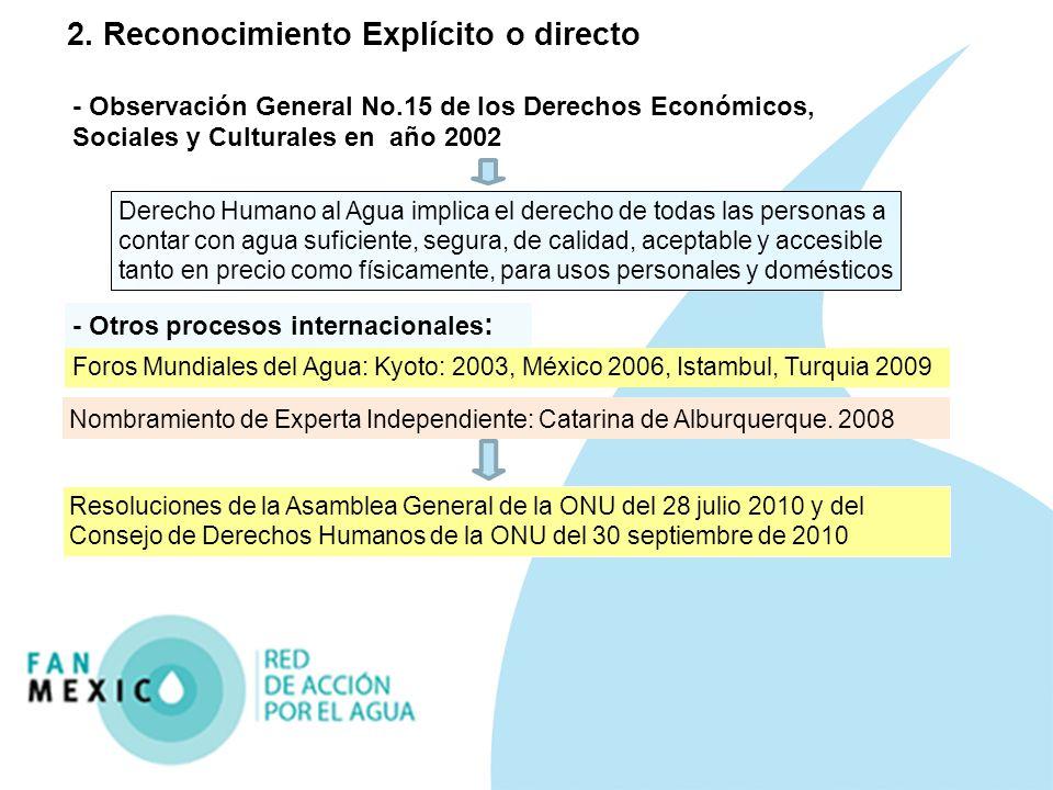 2. Reconocimiento Explícito o directo - Observación General No.15 de los Derechos Económicos, Sociales y Culturales en año 2002 Derecho Humano al Agua