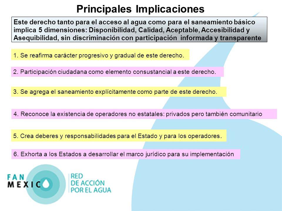 Reconocimiento explícito en México con la modificación constitucional el 8 febrero2012 Toda persona tiene derecho al acceso, disposición y saneamiento de agua para consumo personal y doméstico en forma suficiente, salubre, aceptable y asequible.