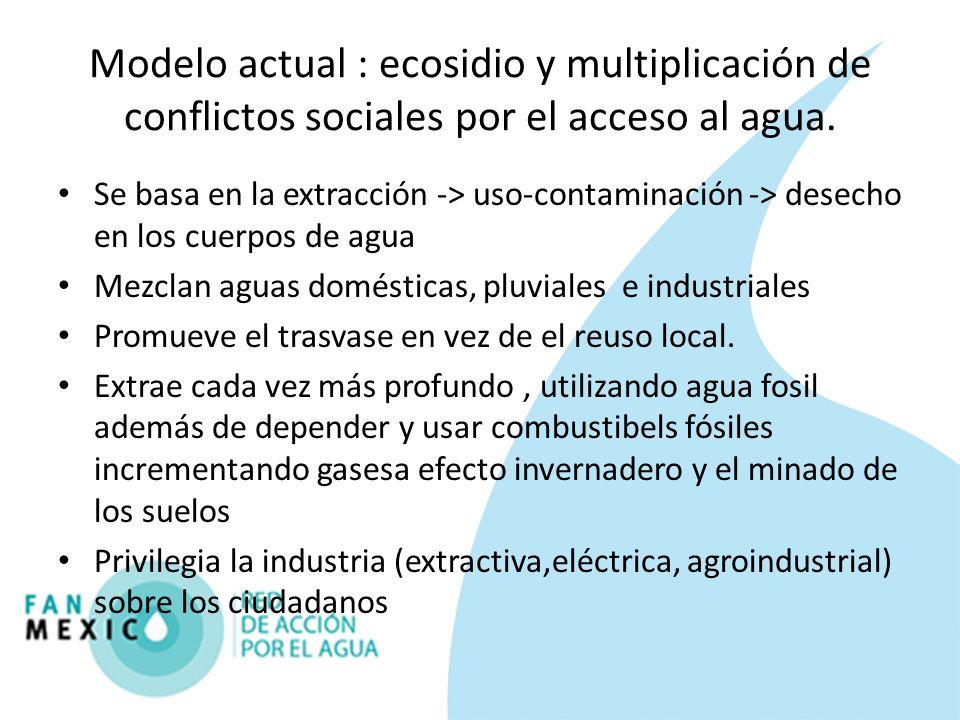 Modelo actual : ecosidio y multiplicación de conflictos sociales por el acceso al agua. Se basa en la extracción -> uso-contaminación -> desecho en lo