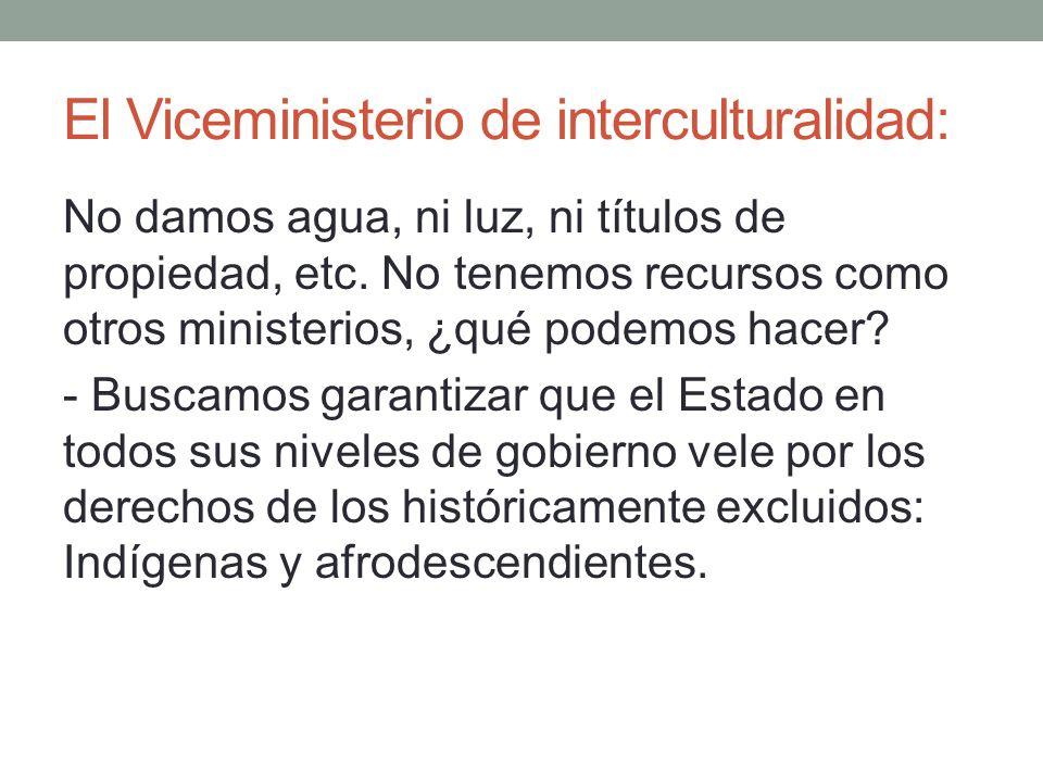 El Viceministerio de interculturalidad: No damos agua, ni luz, ni títulos de propiedad, etc. No tenemos recursos como otros ministerios, ¿qué podemos