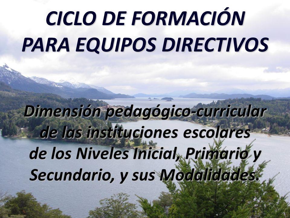 CICLO DE FORMACIÓN PARA EQUIPOS DIRECTIVOS Dimensión pedagógico-curricular de las instituciones escolares de los Niveles Inicial, Primario y Secundario, y sus Modalidades.