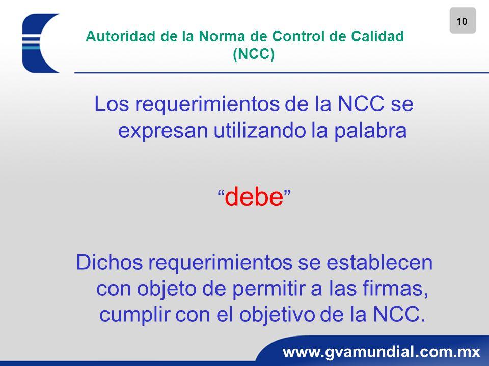 10 www.gvamundial.com.mx Autoridad de la Norma de Control de Calidad (NCC) Los requerimientos de la NCC se expresan utilizando la palabra debe Dichos