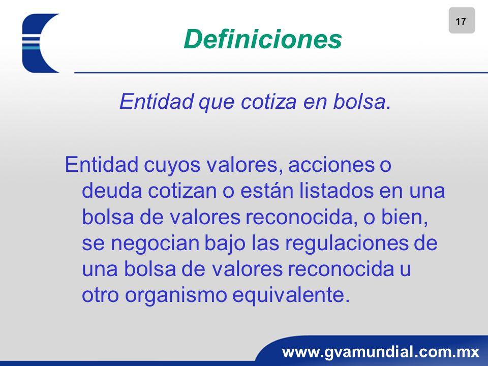 17 www.gvamundial.com.mx Definiciones Entidad que cotiza en bolsa. Entidad cuyos valores, acciones o deuda cotizan o están listados en una bolsa de va