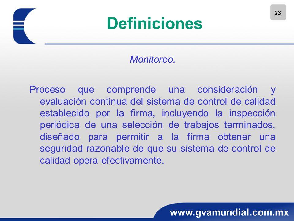 23 www.gvamundial.com.mx Definiciones Monitoreo. Proceso que comprende una consideración y evaluación continua del sistema de control de calidad estab
