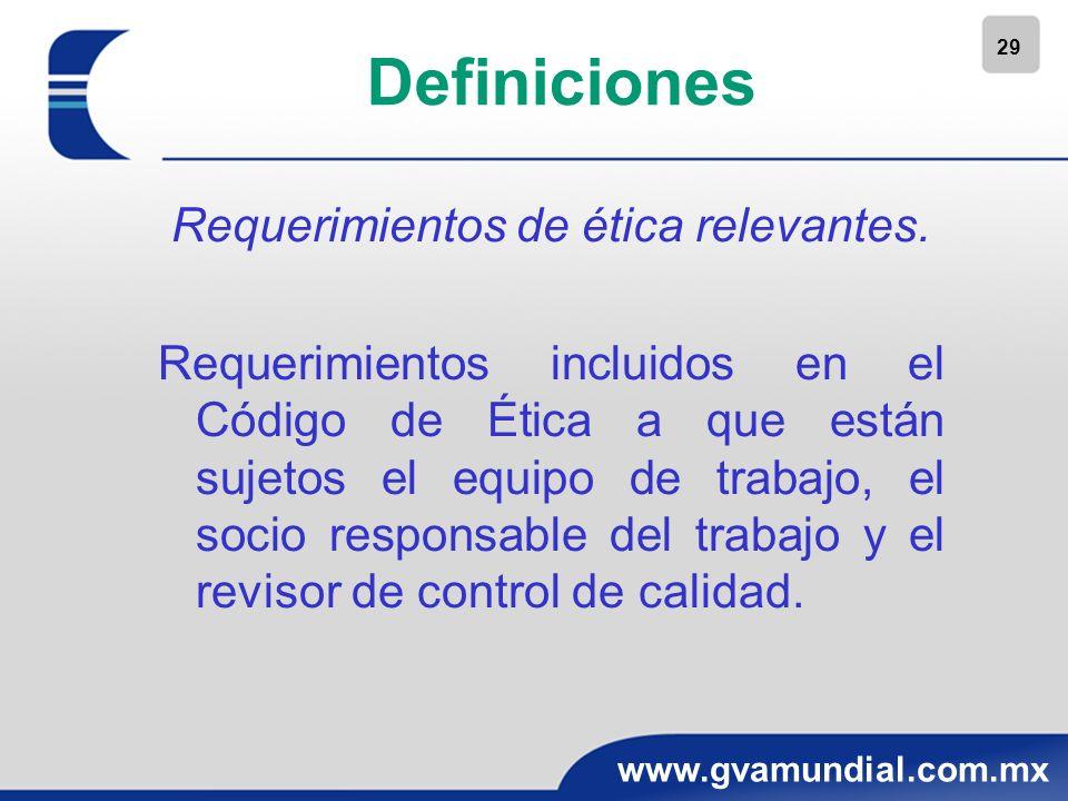 29 www.gvamundial.com.mx Definiciones Requerimientos de ética relevantes. Requerimientos incluidos en el Código de Ética a que están sujetos el equipo