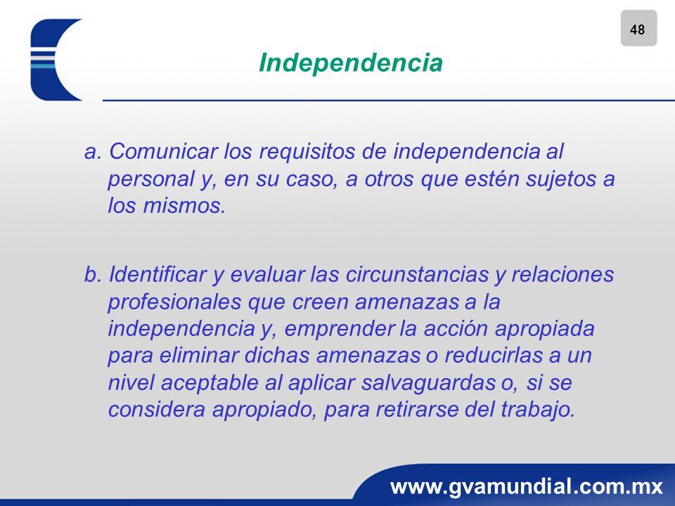 48 www.gvamundial.com.mx Independencia a. Comunicar los requisitos de independencia al personal y, en su caso, a otros que estén sujetos a los mismos.