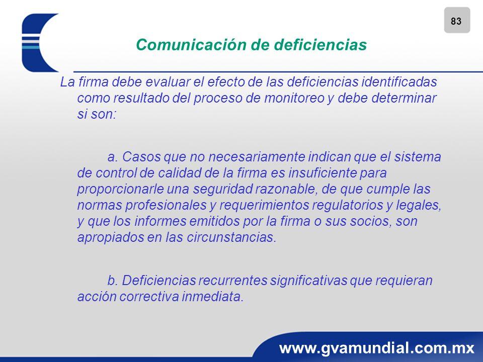 83 www.gvamundial.com.mx Comunicación de deficiencias La firma debe evaluar el efecto de las deficiencias identificadas como resultado del proceso de