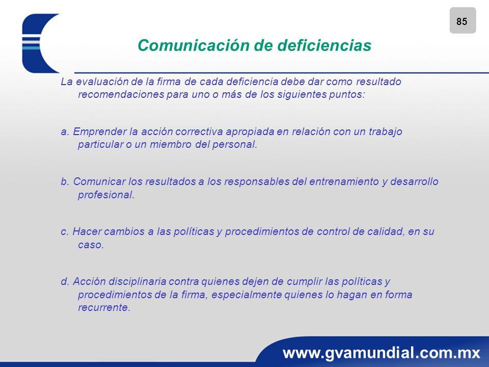 85 www.gvamundial.com.mx Comunicación de deficiencias La evaluación de la firma de cada deficiencia debe dar como resultado recomendaciones para uno o