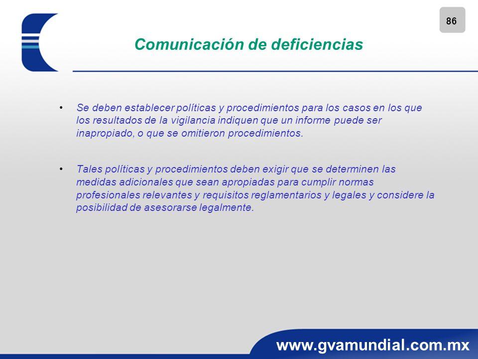 86 www.gvamundial.com.mx Comunicación de deficiencias Se deben establecer políticas y procedimientos para los casos en los que los resultados de la vi
