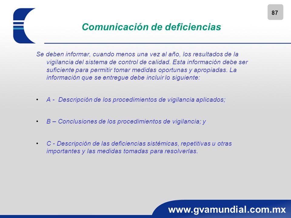 87 www.gvamundial.com.mx Comunicación de deficiencias Se deben informar, cuando menos una vez al año, los resultados de la vigilancia del sistema de c