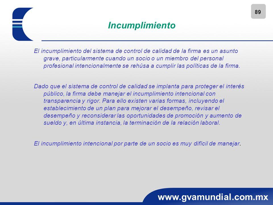 89 www.gvamundial.com.mx Incumplimiento El incumplimiento del sistema de control de calidad de la firma es un asunto grave, particularmente cuando un