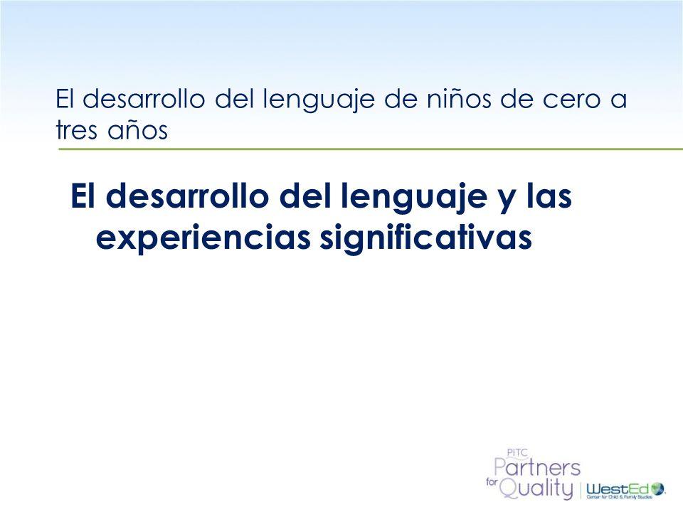 WestEd.org Objetivos de aprendizaje Al final de la sesión los participantes serán capaces de: Discutir sobre la importancia que tienen las experiencias significativas en el desarrollo del lenguaje Explorar maneras para crear experiencias significativas tempranas para los niños de cero a tres años.