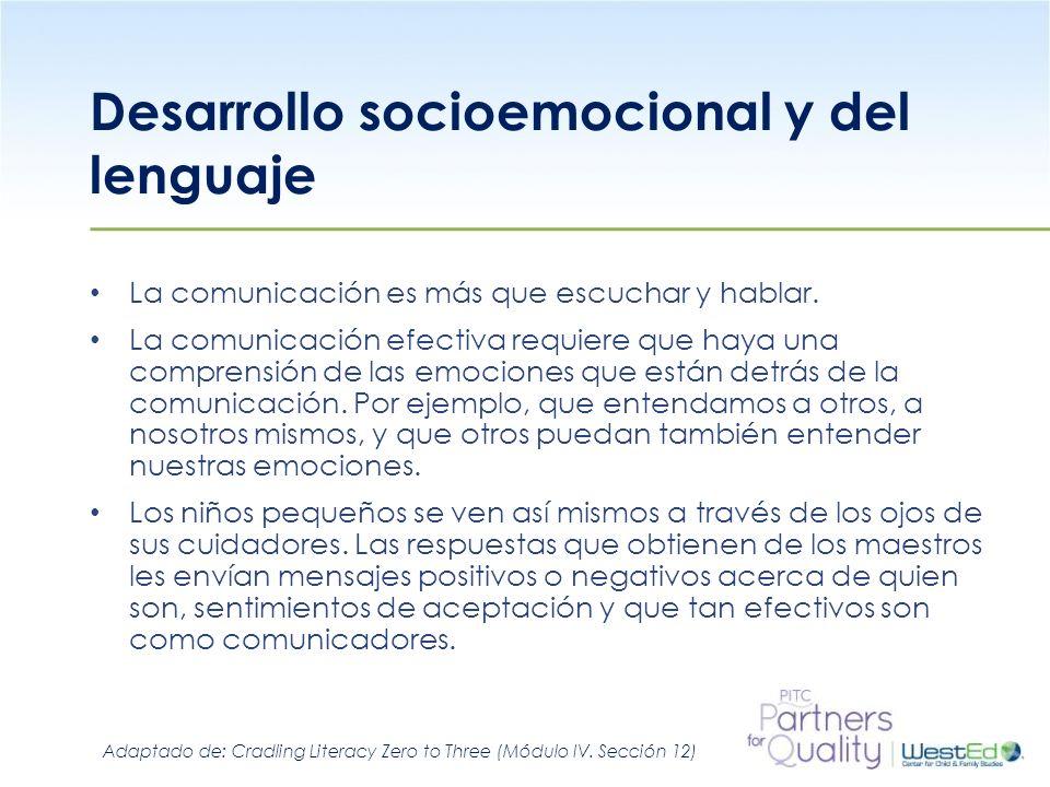 Desarrollo socioemocional y del lenguaje La comunicación es más que escuchar y hablar. La comunicación efectiva requiere que haya una comprensión de l