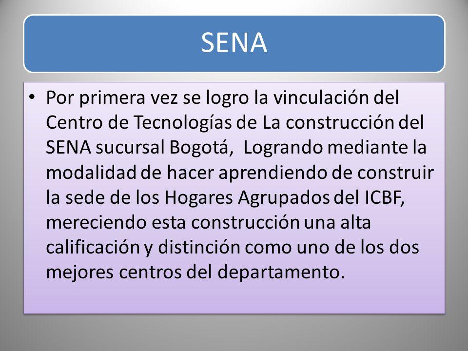 SENA Por primera vez se logro la vinculación del Centro de Tecnologías de La construcción del SENA sucursal Bogotá, Logrando mediante la modalidad de