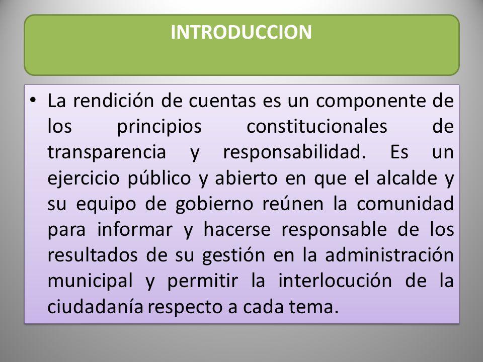 INTRODUCCION La rendición de cuentas es nuestra obligación legal y ética que tenemos para con nuestros paisanos de informar y explicarles la utilización de los recursos públicos que le fueron asignados al municipio y como han sido utilizados en beneficio de la comunidad de Palocabildo.