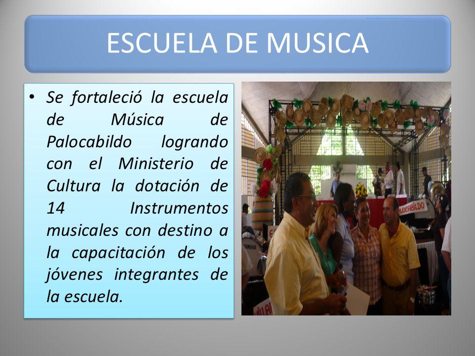 ESCUELA DE MUSICA Con la escuela de Música se Participo en los diferentes eventos culturales realizados en el Municipio y en especial en la celebración del segundo Gran Concierto Nacional, y por primera vez se participo con ellos en el encuentro Departamental de Escuelas de Música.