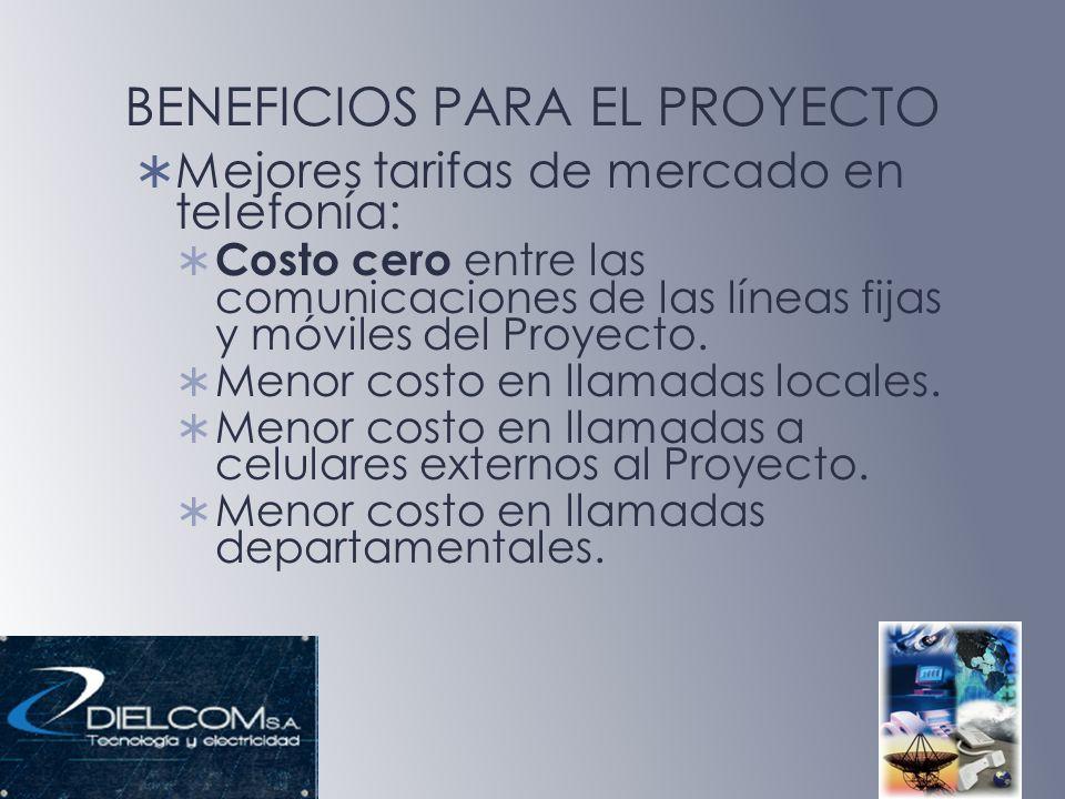 BENEFICIOS PARA EL PROYECTO Mejores tarifas de mercado en telefonía: Costo cero entre las comunicaciones de las líneas fijas y móviles del Proyecto. M