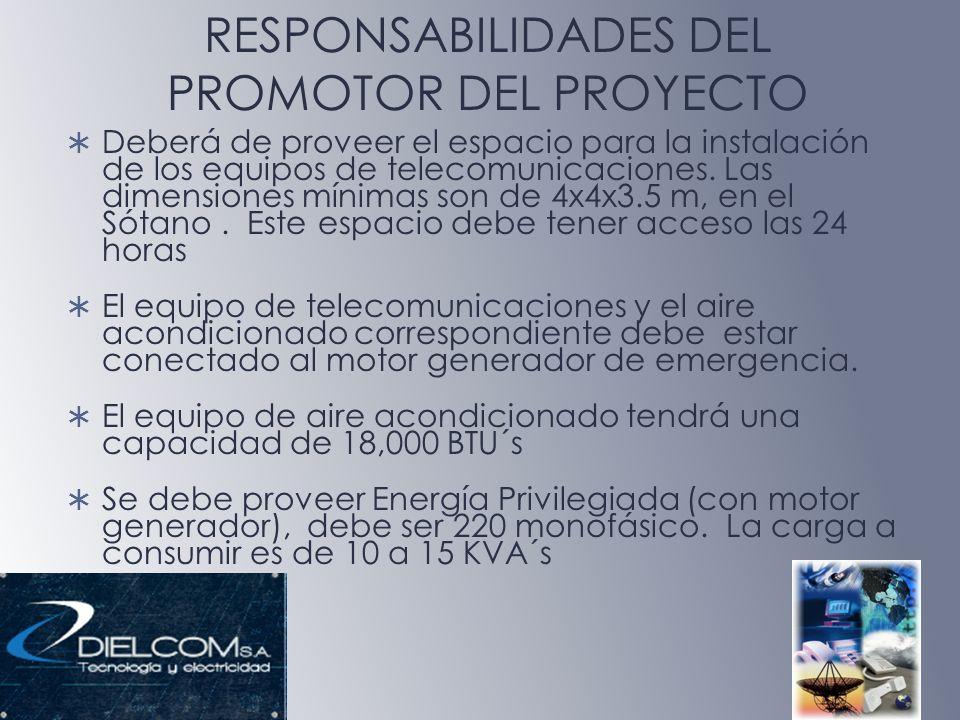 RESPONSABILIDADES DEL PROMOTOR DEL PROYECTO Deberá de proveer el espacio para la instalación de los equipos de telecomunicaciones. Las dimensiones mín