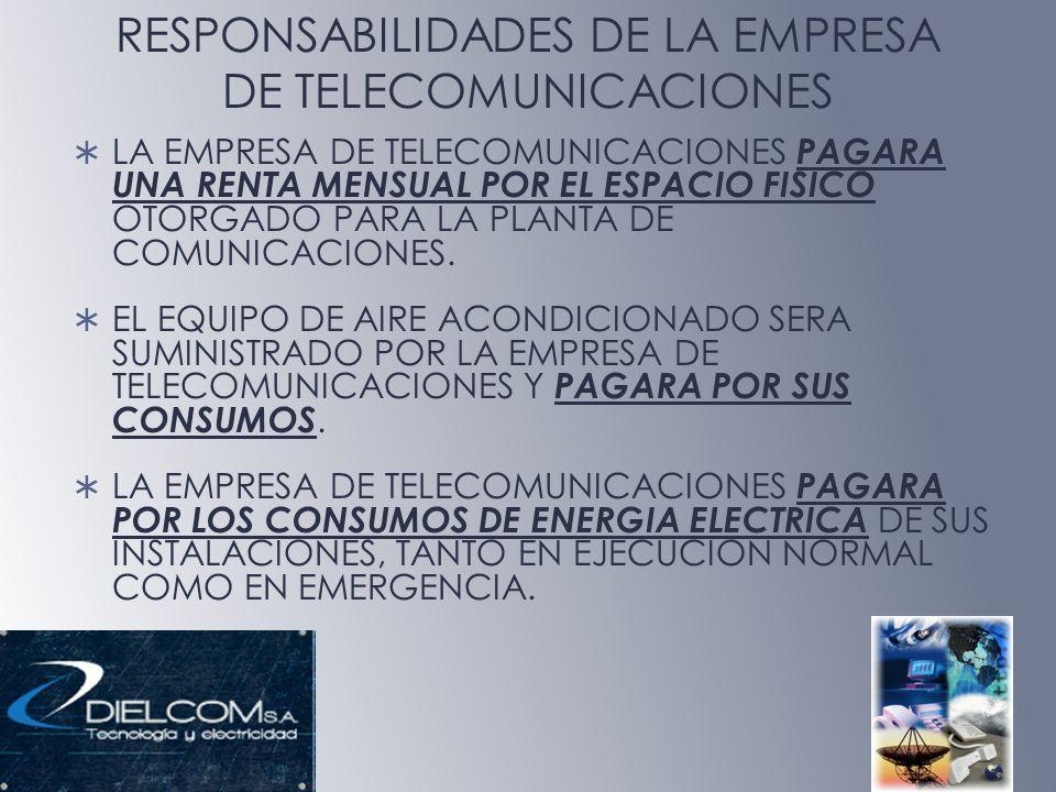 RESPONSABILIDADES DE LA EMPRESA DE TELECOMUNICACIONES LA EMPRESA DE TELECOMUNICACIONES PAGARA UNA RENTA MENSUAL POR EL ESPACIO FISICO OTORGADO PARA LA